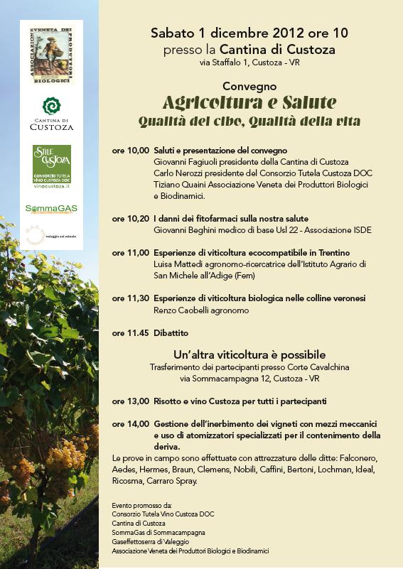 Convegno su Agricoltura e Salute l'1 dicembre a Custoza